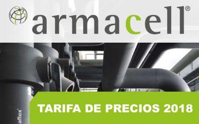ARMACELL, Tarifa de precios 2018